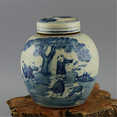 Chinese Asian Children Antique Porcelain Pot Decorated Old Jar with Lid #16