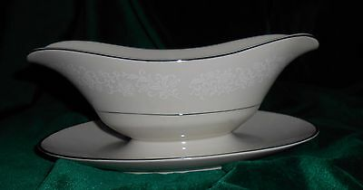 Ivory Fantasy Gravy Boat w/ Attached Underplate Fine China of Japan
