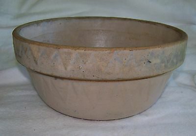 Antique Ruckel's Pottery Mixing Bowl Bread Making Bowl Sawtooth Pattern 1800's