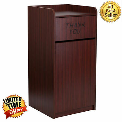 Commercial Trash Can Restaurant Tray Receptacle Large Garbage Waste Bin Mahogany
