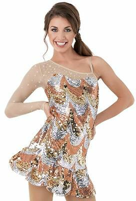 Dance Costume Medium Adult Gold Silver Rhinestone Jazz Tap Solo Competition