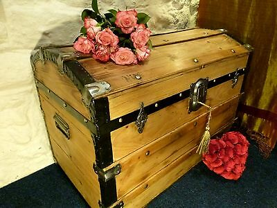 Vintage Edwardian Domed Trunk Pine Chest Wax Polished Pine