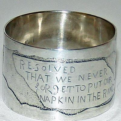 Antique American Sterling Child's Napkin Ring with Charming Saying, Orig. Box