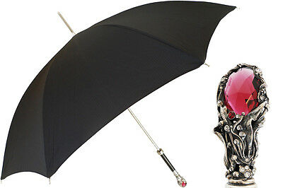 "Pasotti ""Black Mens Umbrella with Luxury Red Gem Handle"" 478 6768-1 W68 - New"