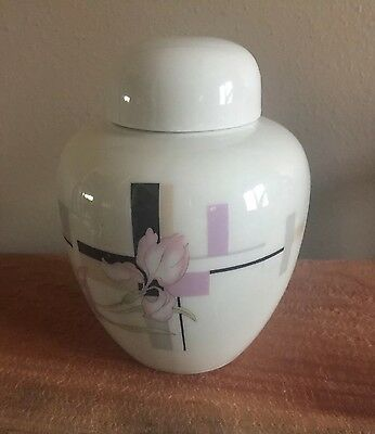 "Japanese Fine Porcelain Ginger Jar Decorated w/Beautiful Orchids 5"" Modern Style"