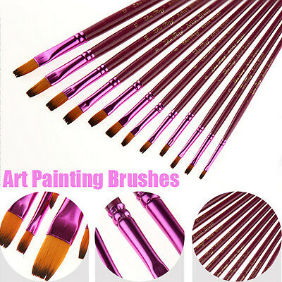 Lady 12X Face Painting Brushes --Round And Flat Tip Art Paint Brush Glitter Set