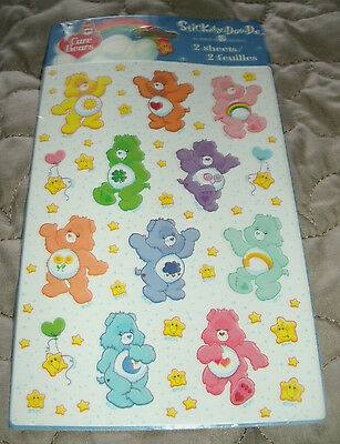 New American Greetings Stickety Doo Da Care Bear Stickers 2 Sheets 2002 Sealed