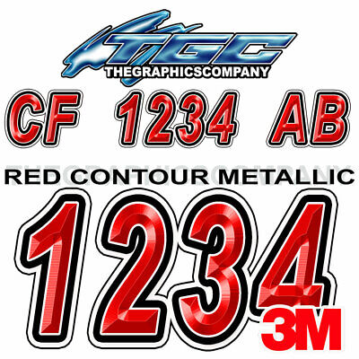 Red White Custom Boat Registration Numbers Decals Vinyl Lettering - Vinyl letter stickers for boats