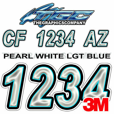 PEARL WHITE LT BLUE  Custom Boat Registration Numbers Decals Vinyl Stickers USCG