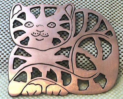 Copper Finished/Cast Iron Heavy Metal Cat Trivet Pot Holder
