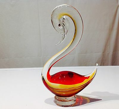Murano **SWAN**Vintage  Amber/Red  Glass Bird Duck MADE IN ITALY 23 Cm High