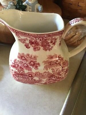 Alfred Meakin Pink Red Tonquin 32 oz. Square Pitcher