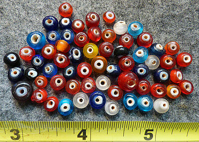 Original 1700s Indian Trade Beads 60+ Bead Collection Old White Heart Glass Bead
