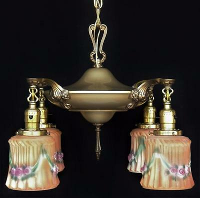Antique circa 1910 Brass 4-arm Pan Light Ceiling Chandelier, Hand Painted Shades