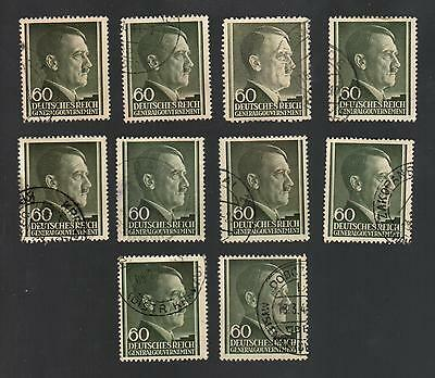 WWII Occupied Poland - Lot of 10 Stamps 60 Groszy with Hitler's Head - #16