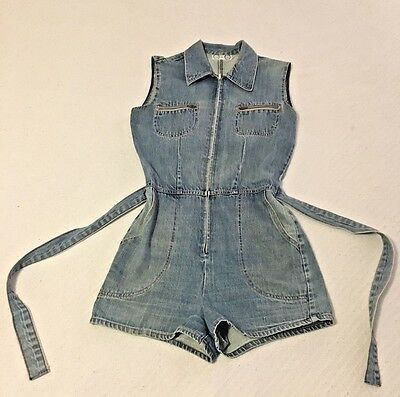 Vintage Denim Romper Jumper Playsuit - Time and Place Size S/M 80s 90s Hipster