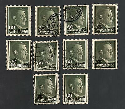 WWII Occupied Poland - Lot of 10 Stamps 60 Groszy with Hitler's Head - #17