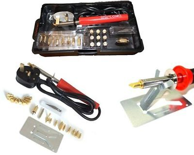 25Pc 30W Wood Burning Pro Soldering Iron Gun Tool Set Pyrography Kit Brass Tips