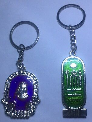 Egyptian Keychain Lot Of 2 Souvenir Cleopatra & Hieroglyphics