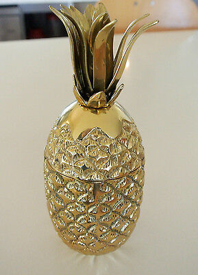 """small PINEAPPLE vase & lid sculpture decoration SOLID BRASS heavy 8"""" hand made"""