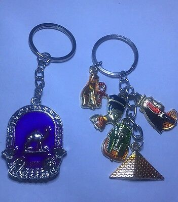 Egyptian Keychain Lot Of 2 Souvenir Cleopatra, Camel, Mau, Pyramid More