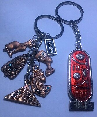 Egyptian Keychain Lot Of 2 Souvenir Cleopatra & Hieroglyphics, Mau, Pyramid More