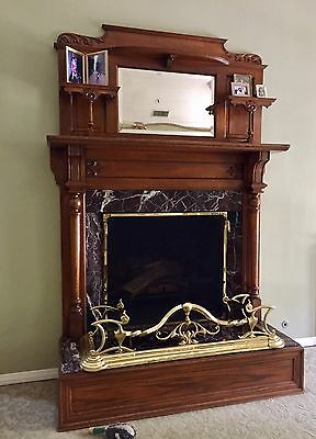 Antique Fireplace Mantel, Hearth and Marble surround