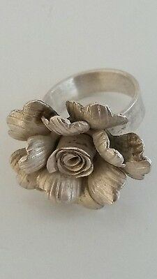 Vintage Matte Silver Handmade Flower Ring 17.5mm inside diameter ring size
