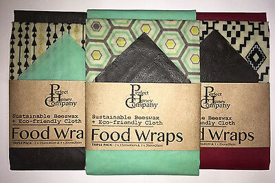 Beeswax Food Wraps | 3 PACK SMALL & TWO LARGE