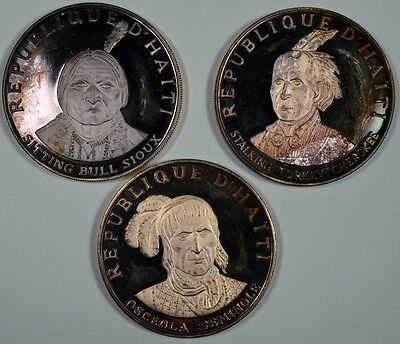 VERY RARE!  Haiti 1971 9-coin US Indian Chiefs Silver Proof Set (13.6 oz. ASW!)