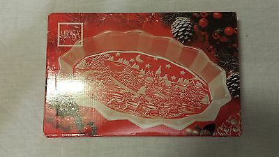 "Mikasa 14"" Silent Night Christmas Cookie Plate Platter Clear & Frosted Glass NEW"