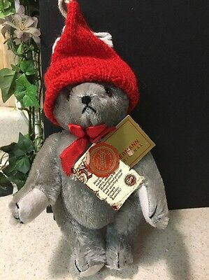 """Hermann Original Teddy Bear Germany Jointed Tags 8.5"""" Gray Silver Stocking Hat"""