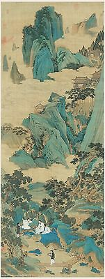 Chinese scroll painting Fairyland in the mountains in Ming dynasty by Qiu Ying