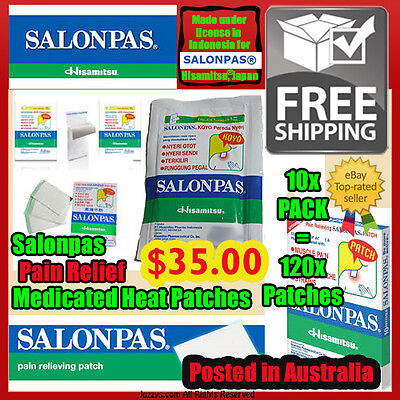 Salonpas® Heat Patches 10x Pack x 120x patches Hisamitsu® Medicated Heat Plaster