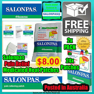 Salonpas Heat Patches 2x Pack x 24x patches Hisamitsu® Medicated Heat Plaster