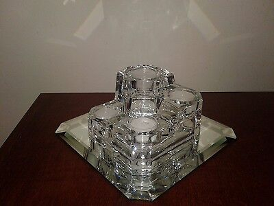 Partylite Crystal Castle 5 Tealight Candle Holder & Custom Cut Mirror