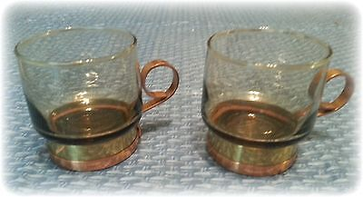 Set of 2 Smoked Libbey Drinking Glasses with Copper Holders w/Cork on Bottom