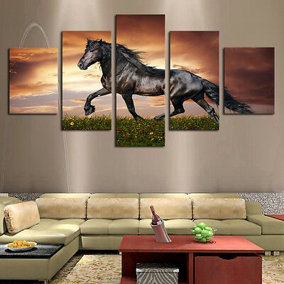 Modern Abstract Oil Painting Wall Decor Art Huge - black Running the horse 5pcs