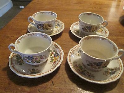 Ridgways England Apple Blossom 4 Cups  & 4 Saucers  Blue Yellow Flowers