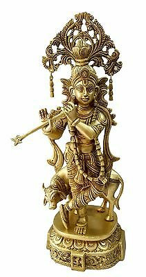 Statue Of  God Krishna With Cow Handicrafts Product By Bharat Haat™BH04646