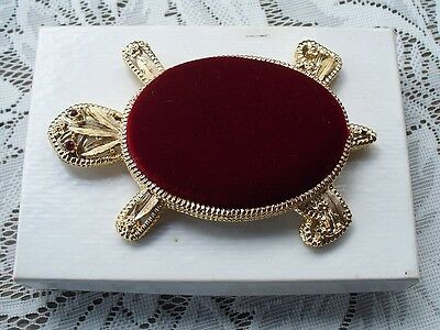 Beautiful Vintage Gold Tone Red Velvet Rhinestone Turtle Pin Cushion With Box