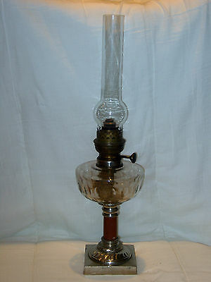 Old Chrome & Marble Base Oil Lamp With Clear Glass Font Gwo Excellent Condition