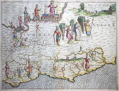 1612 Original Antique Map LONDON SURREY & SUSSEX by DRAYTON Polyolbion RARE!