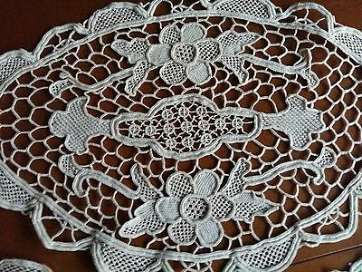 ANTIQUE Vintage Set of 3 parts Handmade Ecru Italy Needle Lace Tablerunners Oval