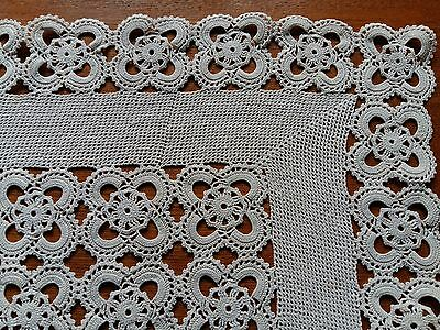 ANTIQUE Vintage Handmade Crochet Lace Ivory Rectangular Tablecloth Runner 25x13""