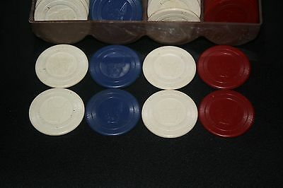 79 Vintage Antique Embossed Clay Poker Chips Red/white/blue Bull Dogs Lot