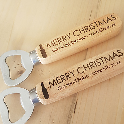 Wooden Engraved Personalised Christmas Beer Bottle Opener, Grandad Gift Present