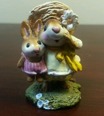 Wee Forest Folk Miss Daisy - Yellow Dress, Bunny Friend in Pink - 1992 - RETIRED