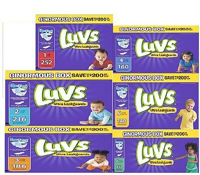 FREE shipping LUVS Ultra leak diapers Size 1 to 6 U pick the size & Quanity