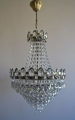 Large Size French Basket Style Vintage Brass & Crystals Chandelier Antique Lamp